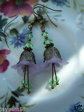 LUCITE FLOWER EARRINGS VINTAGE STYLE Lilac with Peridot Swarovski elements
