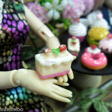 Blythe Pullip Momoko DAL 1/6 Bjd Doll Food Miniature Mini Cherry Slice Cake 2pcs