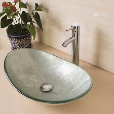Bathroom Oval Tempered Glass Vessel Sink Bowl w/Chrome Faucet&Pop-up Drain Combo