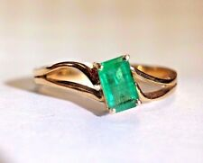 .60CT Bright Green Colombian Emerald 18K Yellow Gold Ring Size 7