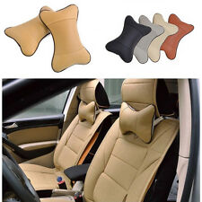 2x Headrest Pillow Leather Breathe Car Seat Head Neck Cushion Rest Bone Pad
