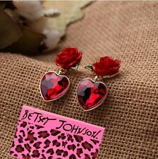 XMAS Gift Betsey Johnson Women Gold Plate Crystal Gem Rose Heart Earring ED0485a