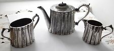 ANTIQUE SILVER PLATED VICTORIAN TEAPOT MILK JUG & SUGAR BOWL BY JOHN TURTON & CO