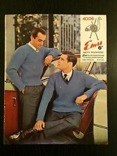 "Vintage Emu Knitting Pattern No 4006  Men's Pullovers 38""- 44"" DK 1960's"