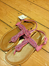 """NWT - CHEROKEE - Girls """"Florence"""" Thong Sandals Pink glitter - Size 6"""