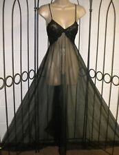 "Vintage Long Black Chiffon Night Gown 190"" sweep Size S/M Lace"