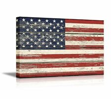 Canvas- Flag of USA / Stars and Stripes on Vintage Wood Board Background - 24x36