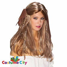Adults Womens Pirate Wench Brown Blonde Beaded Wig Fancy Dress Costume Accessory