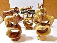VINTAGE CARVED WOOD NAPKIN RINGS ANIMAL SET OF 8 KENYA GREAT LOOKING ARTISAN LOT