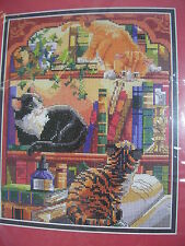 Curiosity cross stitch kit Bucilla cats books Nancy Rossi Kooler Design Studio