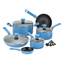 Blue T-fal Excite 14-Piece  Nonstick Dishwasher Safe cookware set Pots & Pans
