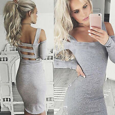 UK Womens Bodycon Cocktail Bandage Dress Ladies Party Evening Dress Size S-XL