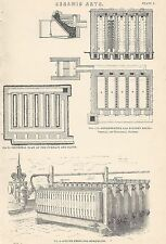 1898 ANTIQUE PRINT CERAMIC ARTS FURNACE KILNS FILTER PRESS