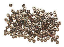 4mm Corrugated Heishi Gear Antiqued Goldtone Metalized Metallic Beads