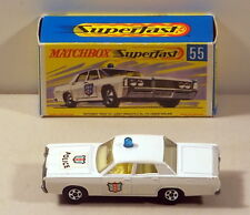 DTE MATCHBOX SUPERFAST TRANSITIONAL 55 MERCURY POLICE CAR W/BLUE DOME LIGHT NIOB