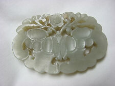 Antique Chinese Nephrite Jade Carved Butterflies and Flower Plaque Pendant