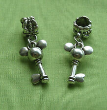 NEW 2 x Disney Mickey Mouse Key Charms Pendants Dangle Bail Beads Tibetan Silver