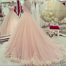 Pink Flowers Quinceanera Dresses Wedding Prom Ball Formal Gown Swee Custom Size