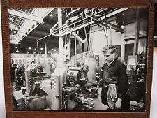 c 1910 FACTORY SHOP FLOOR Workshop LATHE Glass Lantern Photo Slide