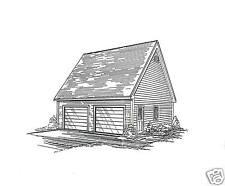 24 x 24 2-Car RD Garage Building Blueprint Plans w / Folding Stairs to Loft