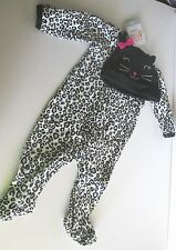 Carter's MY FIRST HALLOWEEN Footed Sleeper & Hat CAT 3mo NEW Animal Print 2pc