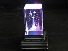 3D Laser Etched Prism Lighthouse Desktop Paperweight Souvenir w/Lighted Stand