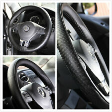 STEERING WHEEL WRAP COVER STITCH BLACK PERFORATED SMOOTH LEATHER 87007E