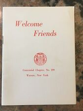 "Order Of The Eastern Star Welcome Friends Booklet Centennial Chapter 4"" X 6"""