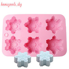 6-Snowflake Cake Molds Soap Silicone Ice Tray Chocolate Jelly Christmas Mould