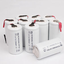 New 10pcs White 3000mAh Ni-CD C 1.2V Rechargeable Battery With Tab univerisal