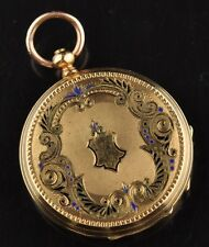 VACHERON GENEVE Antique small women pocket gold watch, blue enamel  34mm