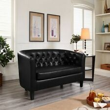 Faux Leather Loveseat Tufted Upholstered Black Button Sofa Chaise Furniture