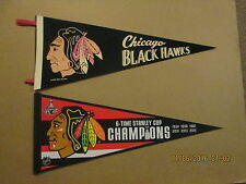 NHL Chicago Blackhawks Circa 1970 NHL Services & a 6-Time SC Champions Pennants