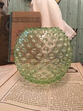 Vintage Bohemia Czech Crystal Hobnail Ivy Ball Bowl Vase Light Beach Glass Green