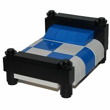 LEGO Furniture: Checkered Bed - Black, w/ Blue & White  [minifigure, house, set]