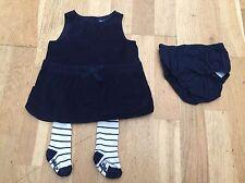 Baby gap filles bleu marine velours robe de soirée/tunique avec collants 3-6 mois