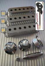 NEW COVERS & KNOBS STRAT 52mm SILVER pour  guitares  Fender, Squier etc