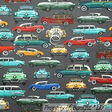 BonEful Fabric FQ Cotton Quilt Gray Red B&W CAR VTG Retro Classic Antique Woody