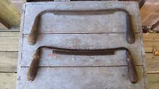2 VINTAGE MID CENTURY DRAW KNIVES PRIMITIVE ANTIQUE CARPENTRY WOODWORKING TOOLS