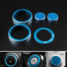 5x Blue Auto Air Condition Button Ignition Ring Cover Frame Trim For Tucson 2016