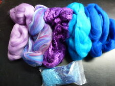 Merino Silk Angelina Fiber Pack Amethyst Spinning Felt Card 5.25 Ounces