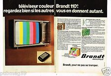 Publicité advertising 1975 (2 pages) Téléviseur television Brandt