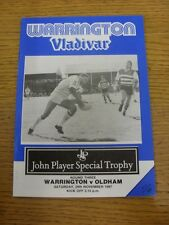28/11/1987 Rugby League Programme: Warrington v Oldham [John Player Special Trop