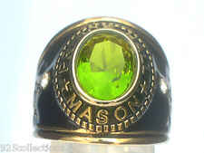 Prince Hall Mason Masonic August Green Peridot Birthstone Men's Ring Size 8