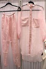 Flora Nikrooz Pajamas Pink Satin Sheer Size P Vintage Pink Label NEW