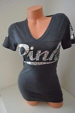 Victoria's Secret Love Pink t shirt dark gray silver sequin bling small S