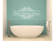 "Relax Restore Renew Bathroom Vinyl Wall Decal #1 Graphics Home Decor 40"" x 18"""