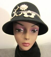 Black WOOL Felt AUGUST CLOCHE Bucket Hat w Gray & Ivory FELT FLOWER APPLIQUES