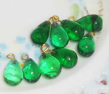 #764 Vintage Beads Glass Drops Dangles Emerald (10) Teardrop Art Deco Nouveau