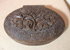antique ornate hand carved wood brass black forest jewelry trinket clam box